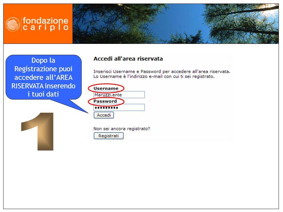 Dopo la Registrazione puoi accedere allAREA RISERVATA inserendo i tuoi dati