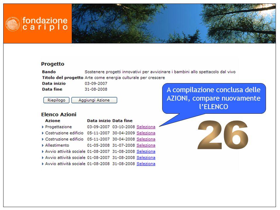 A compilazione conclusa delle AZIONI, compare nuovamente lELENCO