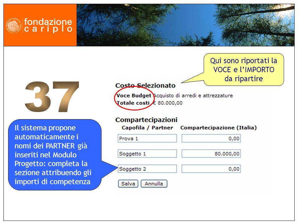 Il sistema propone automaticamente i nomi dei PARTNER già inseriti nel Modulo Progetto: completa la sezione attribuendo gli importi di competenza Qui sono riportati la VOCE e lIMPORTO da ripartire