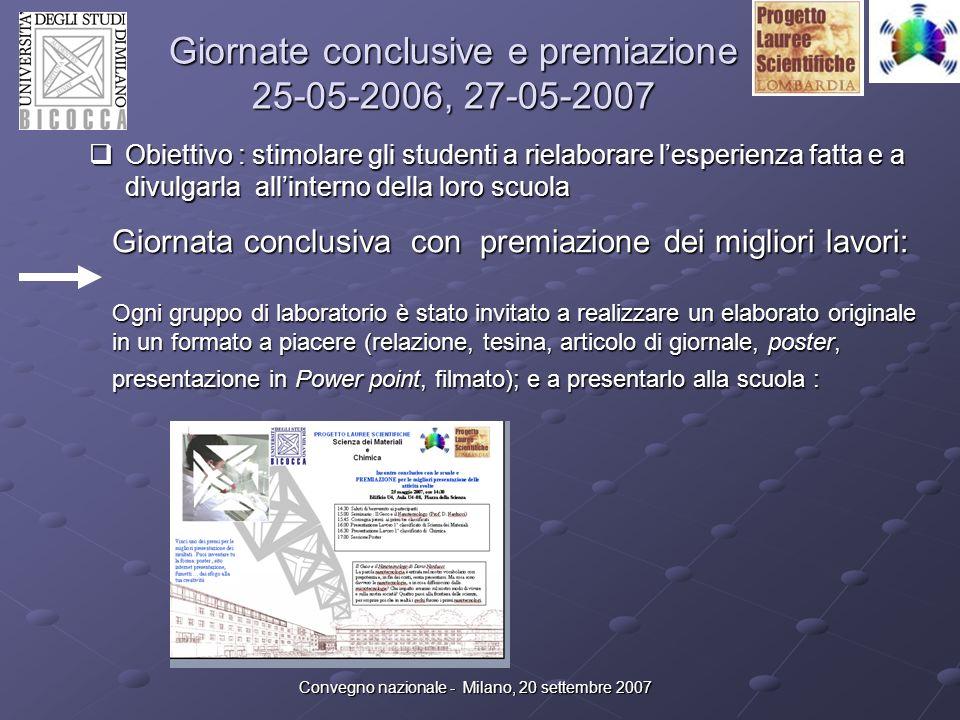 Convegno nazionale - Milano, 20 settembre 2007 Giornate conclusive e premiazione 25-05-2006, 27-05-2007 Ricevuti : 50 lavori Lavori in http://www.mater.unimib.it/orienta/pls.html