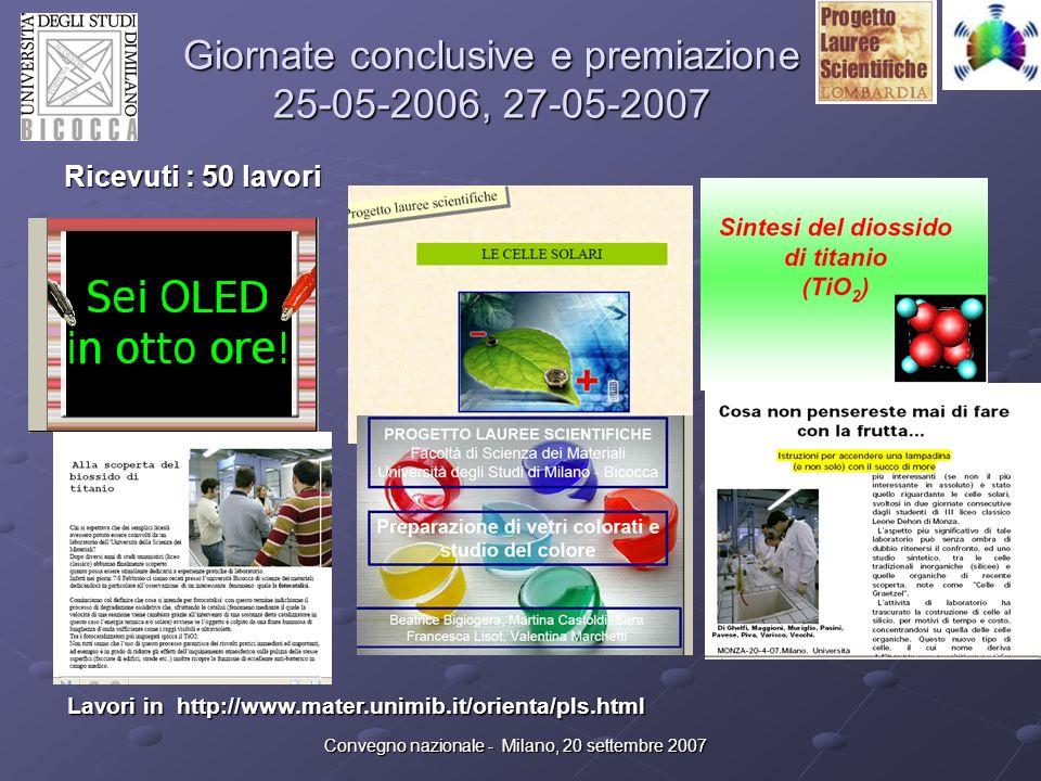 Convegno nazionale - Milano, 20 settembre 2007 Giornate conclusive e premiazione 25-05-2006, 27-05-2007 Ricevuti : 50 lavori Lavori in http://www.mate
