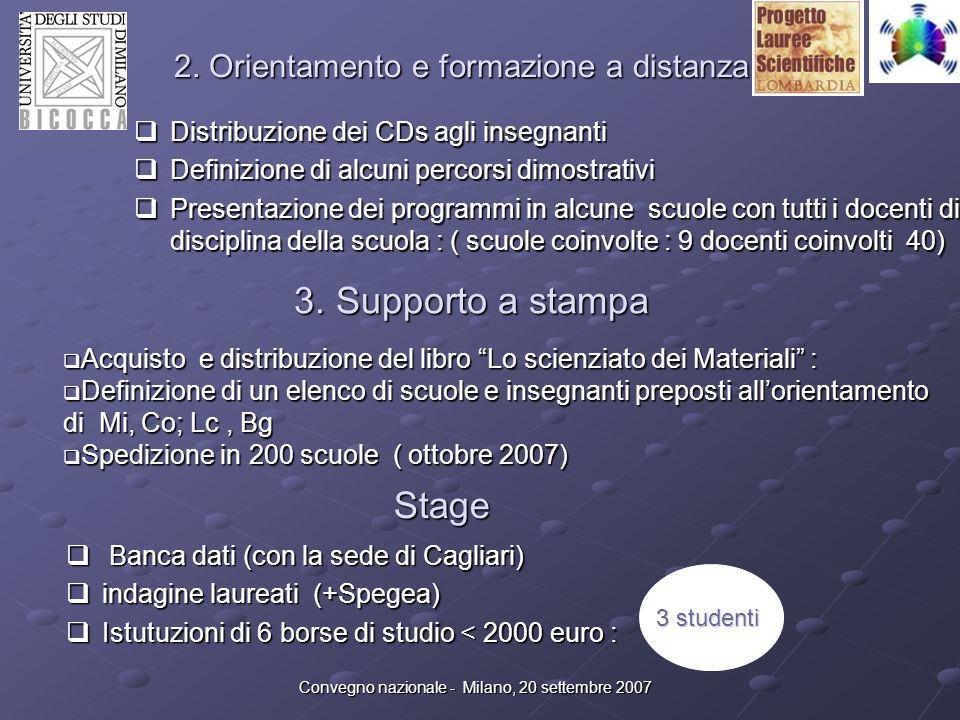 Convegno nazionale - Milano, 20 settembre 2007 2. Orientamento e formazione a distanza Distribuzione dei CDs agli insegnanti Distribuzione dei CDs agl