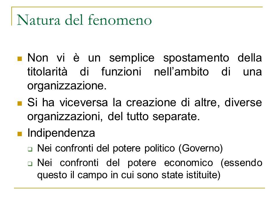 Natura del fenomeno Non vi è un semplice spostamento della titolarità di funzioni nellambito di una organizzazione.