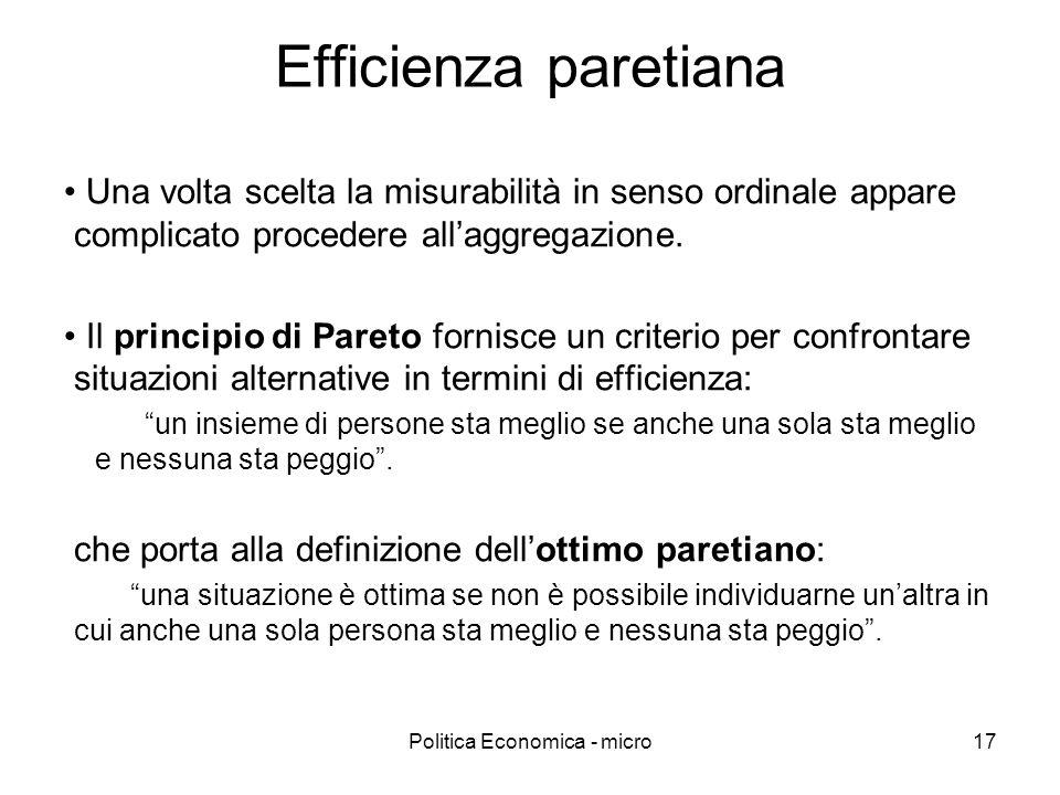 Politica Economica - micro17 Efficienza paretiana Una volta scelta la misurabilità in senso ordinale appare complicato procedere allaggregazione. Il p