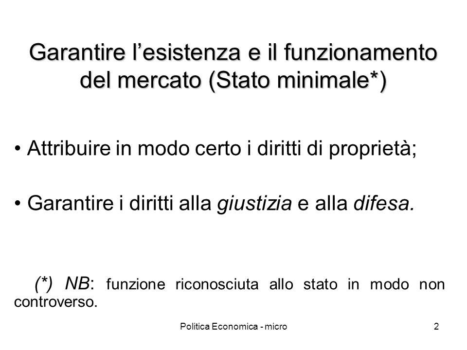 Politica Economica - micro2 Garantire lesistenza e il funzionamento del mercato (Stato minimale*) Attribuire in modo certo i diritti di proprietà; Gar