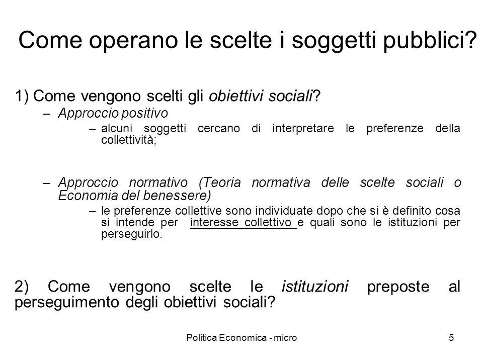 Politica Economica - micro5 Come operano le scelte i soggetti pubblici? 1) Come vengono scelti gli obiettivi sociali? –Approccio positivo –alcuni sogg