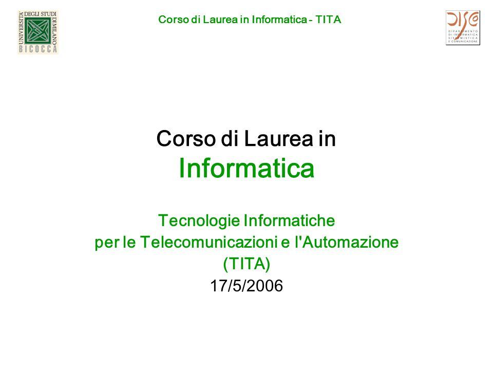 Corso di Laurea in Informatica - TITA Corso di Laurea in Informatica Tecnologie Informatiche per le Telecomunicazioni e l Automazione (TITA) 17/5/2006