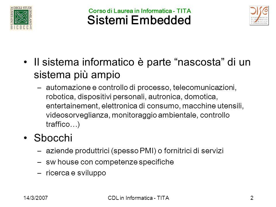 Corso di Laurea in Informatica - TITA 14/3/2007CDL in Informatica - TITA2 Sistemi Embedded Il sistema informatico è parte nascosta di un sistema più a