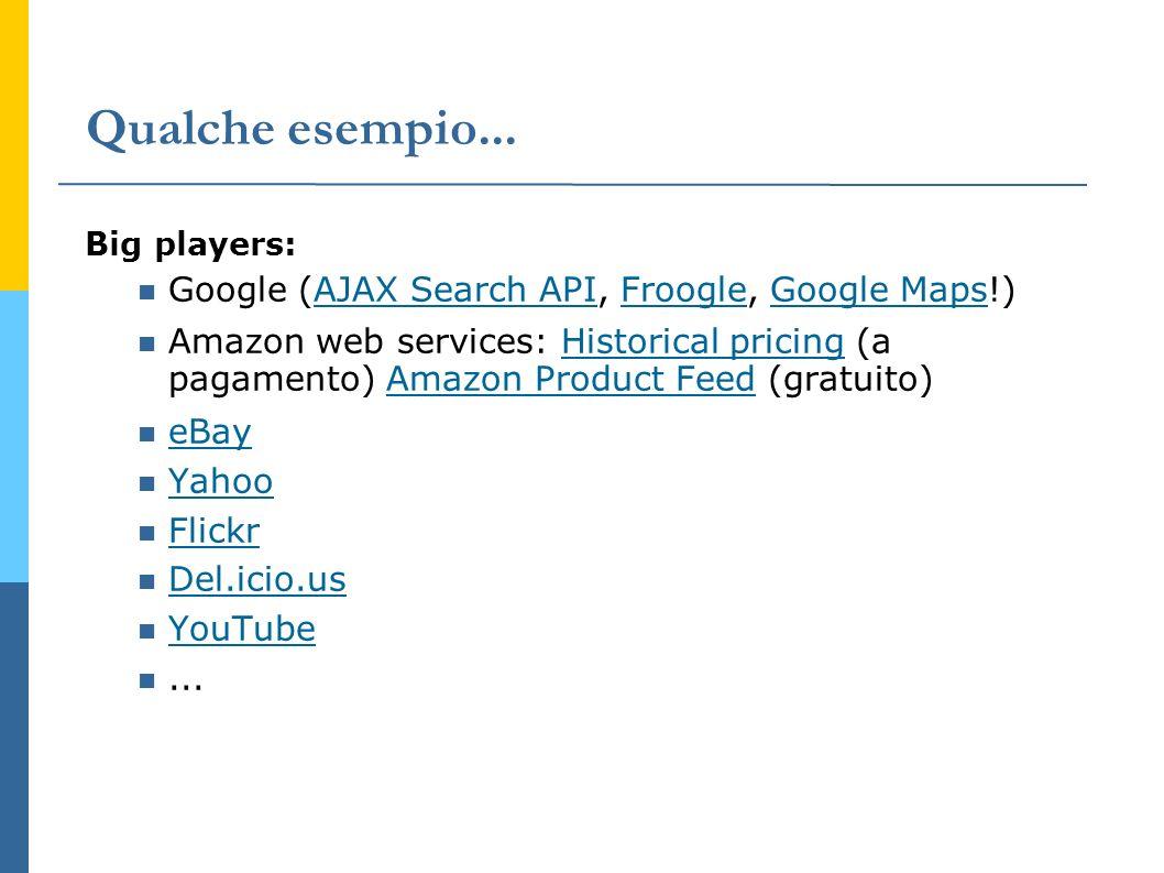 Qualche esempio... Big players: Google (AJAX Search API, Froogle, Google Maps!) AJAX Search APIFroogleGoogle Maps Amazon web services: Historical pric