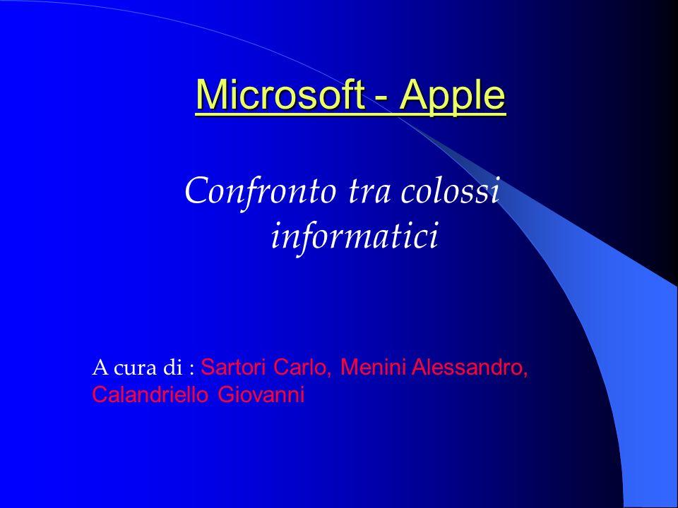 Confronto tra colossi informatici A cura di : Sartori Carlo, Menini Alessandro, Calandriello Giovanni Microsoft - Apple