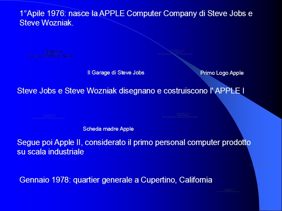 1°Apile 1976: nasce la APPLE Computer Company di Steve Jobs e Steve Wozniak. Il Garage di Steve Jobs Primo Logo Apple Steve Jobs e Steve Wozniak diseg
