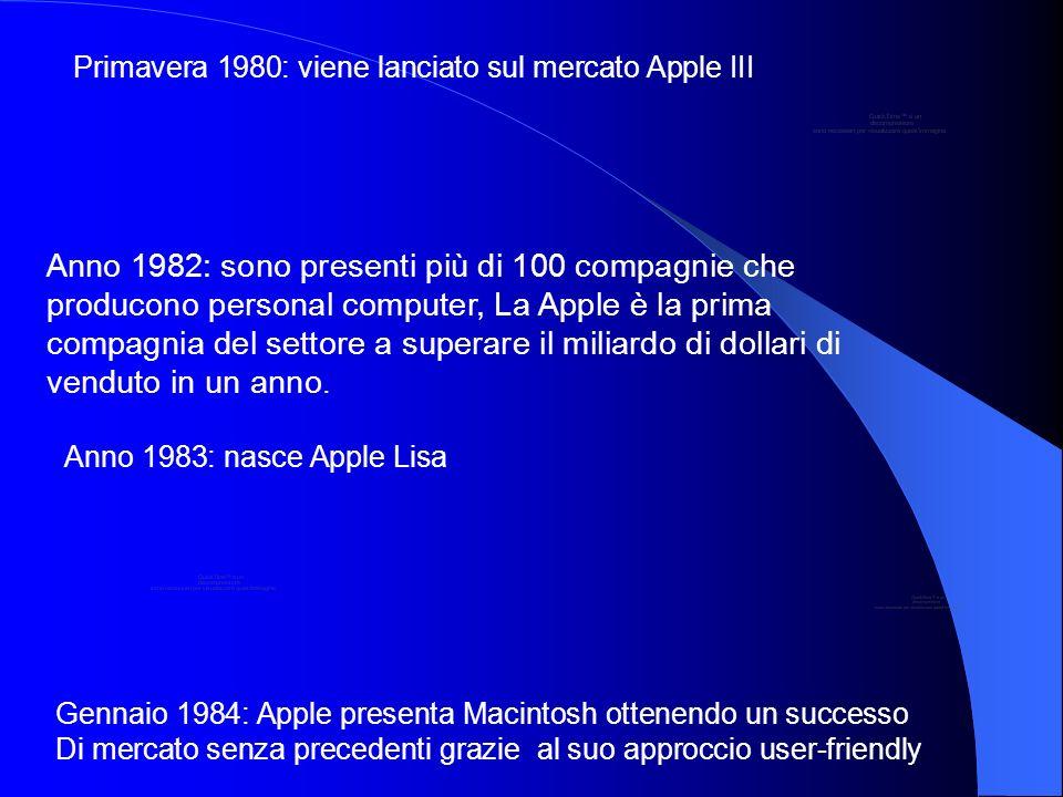Primavera 1980: viene lanciato sul mercato Apple III Anno 1982: sono presenti più di 100 compagnie che producono personal computer, La Apple è la prim