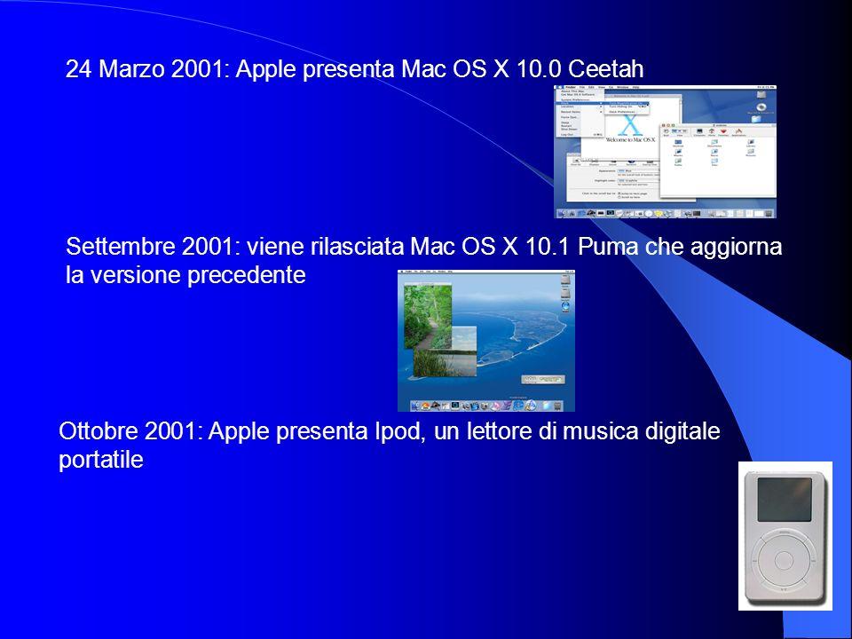 24 Marzo 2001: Apple presenta Mac OS X 10.0 Ceetah Settembre 2001: viene rilasciata Mac OS X 10.1 Puma che aggiorna la versione precedente Ottobre 200