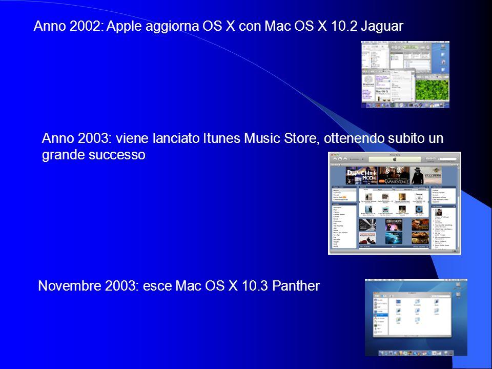 Anno 2002: Apple aggiorna OS X con Mac OS X 10.2 Jaguar Anno 2003: viene lanciato Itunes Music Store, ottenendo subito un grande successo Novembre 200