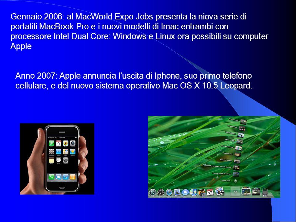 Gennaio 2006: al MacWorld Expo Jobs presenta la niova serie di portatili MacBook Pro e i nuovi modelli di Imac entrambi con processore Intel Dual Core
