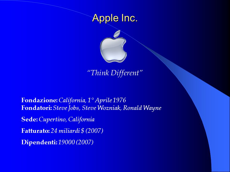 Apple Inc. Think Different Fondazione: California, 1° Aprile 1976 Fondatori: Steve Jobs, Steve Wozniak, Ronald Wayne Sede: Cupertino, California Fattu