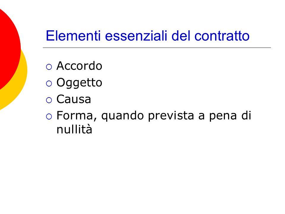 Elementi essenziali del contratto Accordo Oggetto Causa Forma, quando prevista a pena di nullità