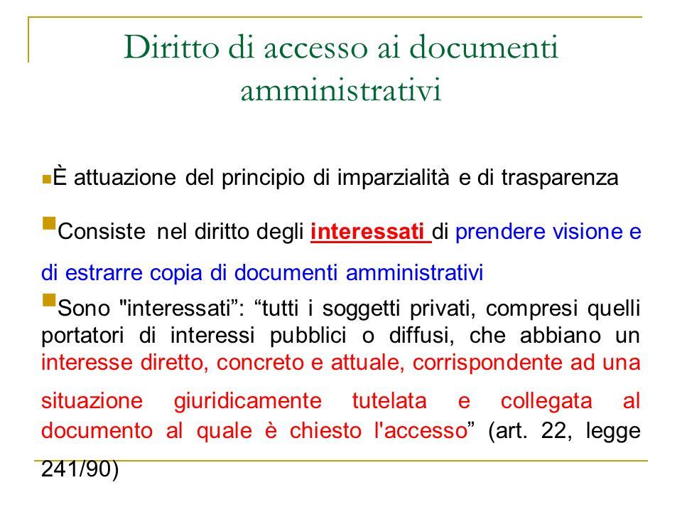 Diritto di accesso ai documenti amministrativi È attuazione del principio di imparzialità e di trasparenza Consiste nel diritto degli interessati di p