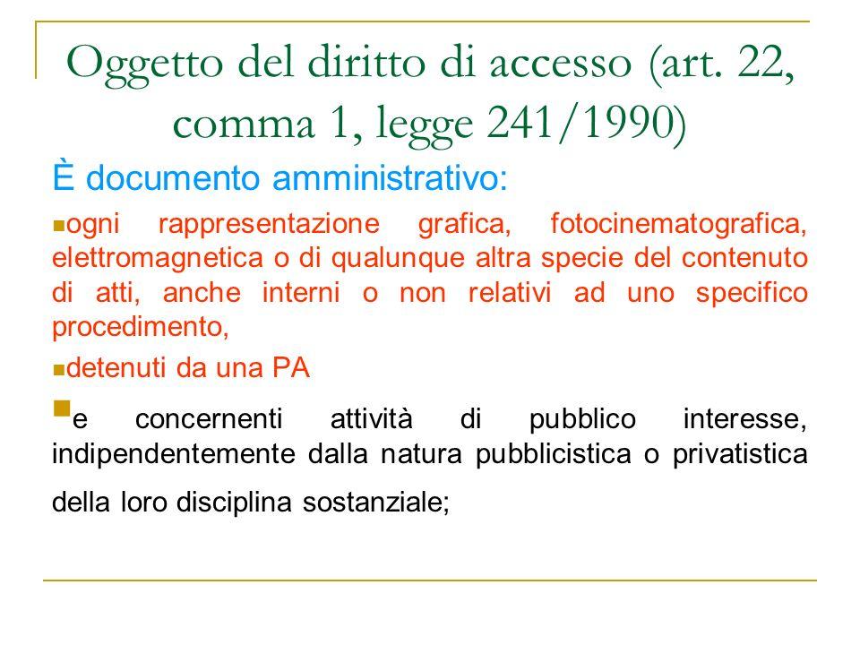 Oggetto del diritto di accesso (art. 22, comma 1, legge 241/1990) È documento amministrativo: ogni rappresentazione grafica, fotocinematografica, elet