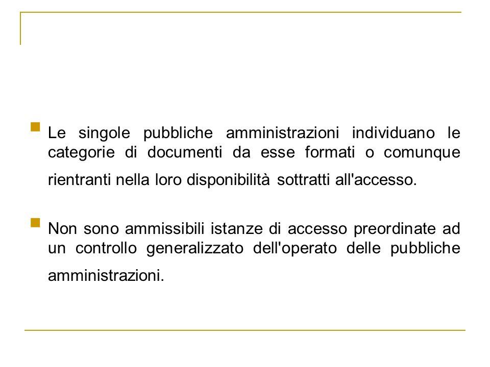 Le singole pubbliche amministrazioni individuano le categorie di documenti da esse formati o comunque rientranti nella loro disponibilità sottratti al