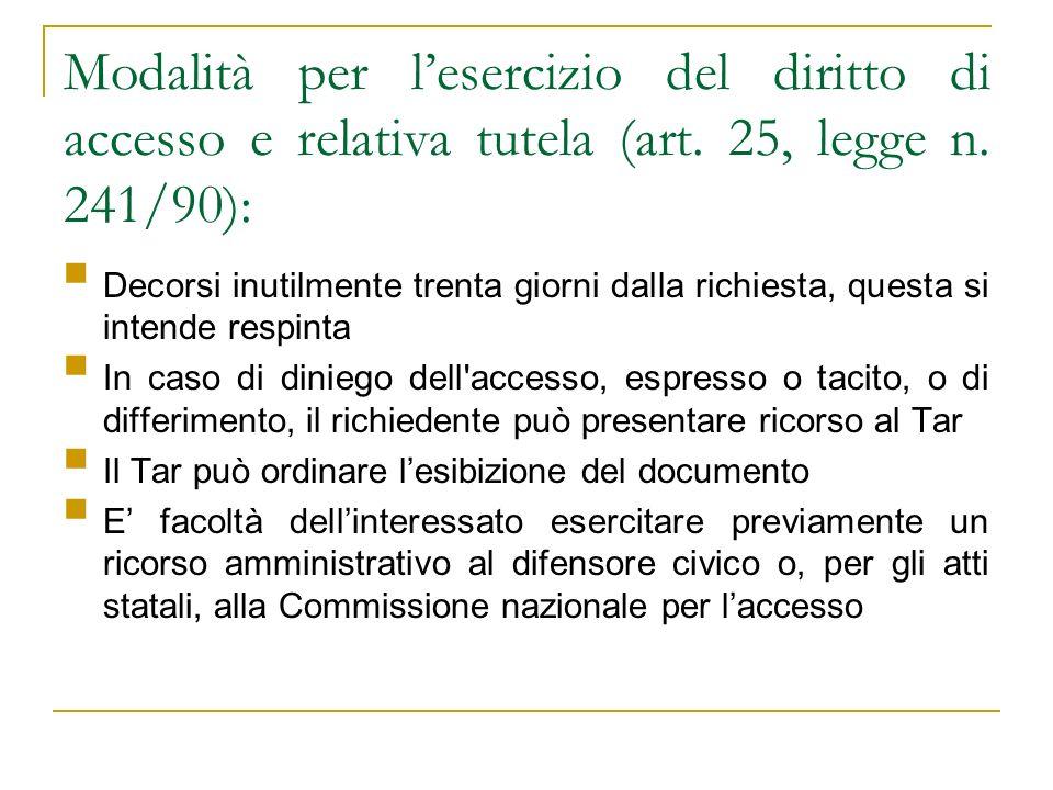 Modalità per lesercizio del diritto di accesso e relativa tutela (art. 25, legge n. 241/90): Decorsi inutilmente trenta giorni dalla richiesta, questa