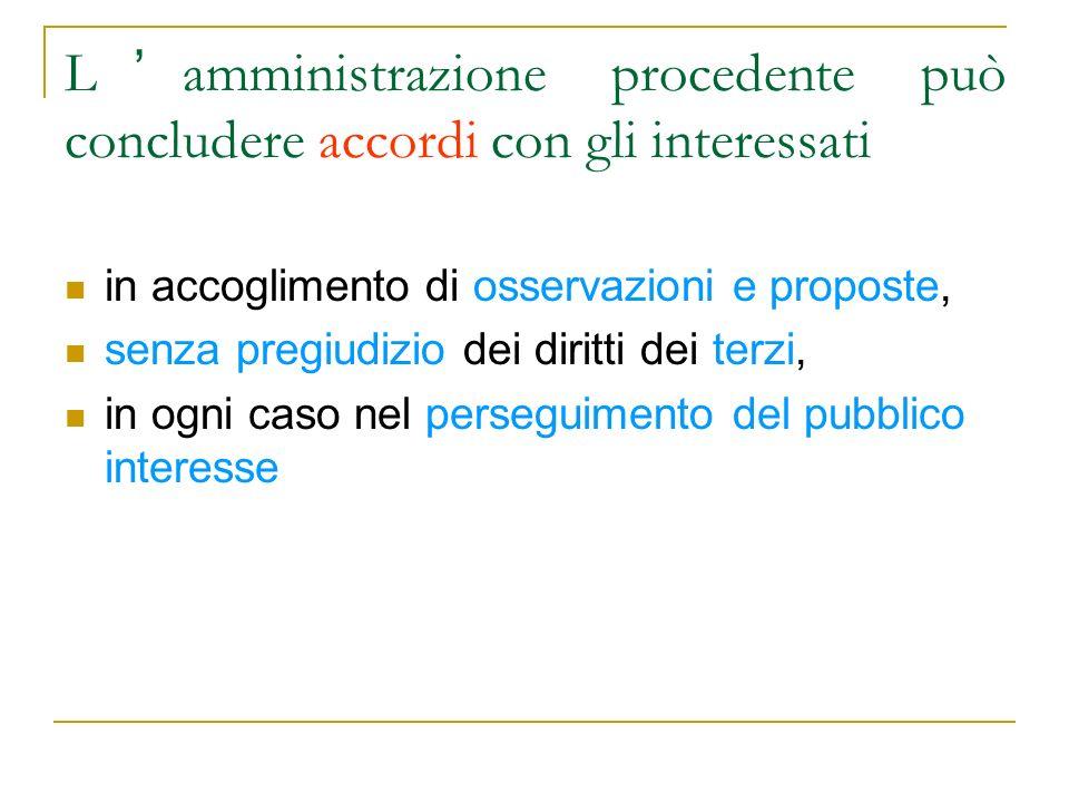 L amministrazione procedente può concludere accordi con gli interessati in accoglimento di osservazioni e proposte, senza pregiudizio dei diritti dei