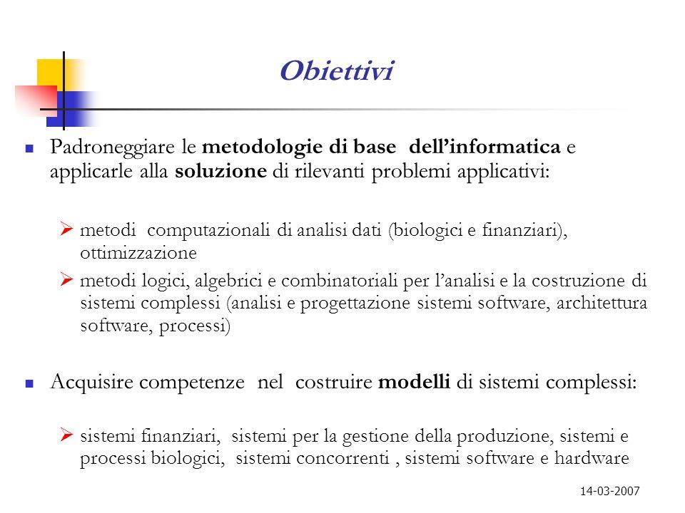 14-03-2007 Obiettivi Padroneggiare le metodologie di base dellinformatica e applicarle alla soluzione di rilevanti problemi applicativi: metodi comput