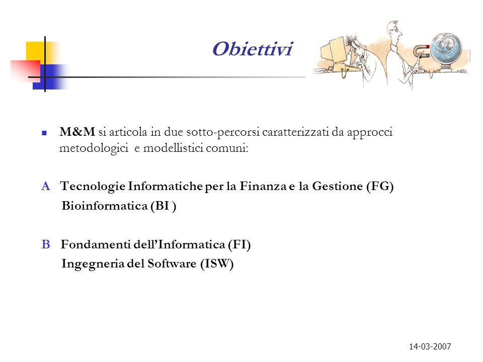 14-03-2007 Obiettivi M&M si articola in due sotto-percorsi caratterizzati da approcci metodologici e modellistici comuni: A Tecnologie Informatiche pe