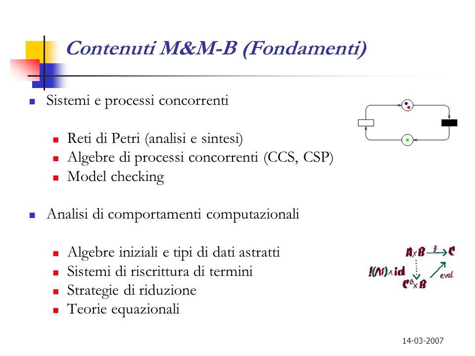 14-03-2007 Contenuti M&M-B (Fondamenti) Sistemi e processi concorrenti Reti di Petri (analisi e sintesi) Algebre di processi concorrenti (CCS, CSP) Mo