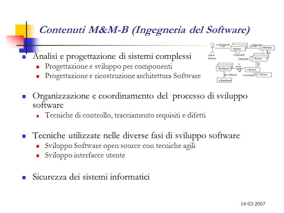 14-03-2007 Contenuti M&M-B (Ingegneria del Software) Analisi e progettazione di sistemi complessi Progettazione e sviluppo per componenti Progettazion