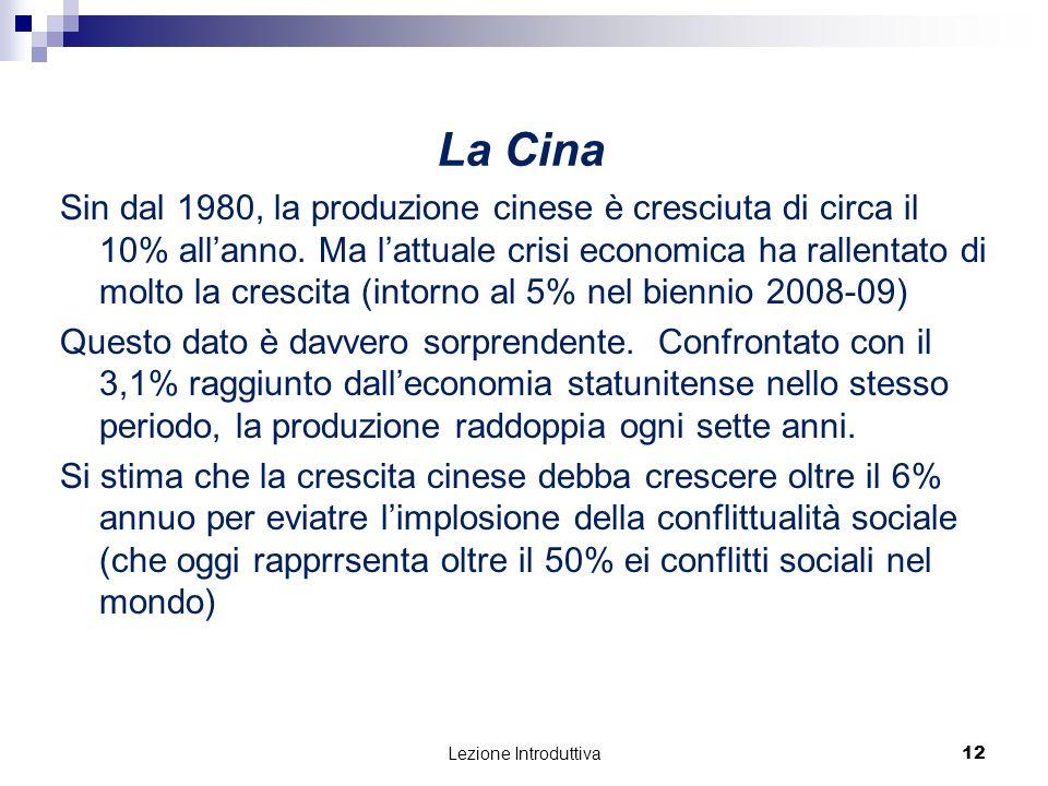 Lezione Introduttiva 12 Sin dal 1980, la produzione cinese è cresciuta di circa il 10% allanno.