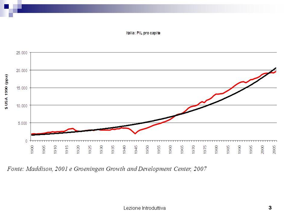 Lezione Introduttiva 4 Fonte: Maddison, 2001 e Groeningen Growth and Development Center, 2007