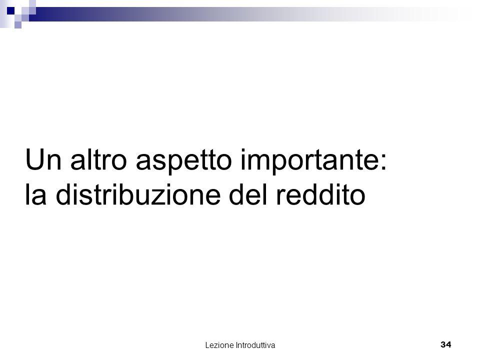 Lezione Introduttiva 34 Un altro aspetto importante: la distribuzione del reddito