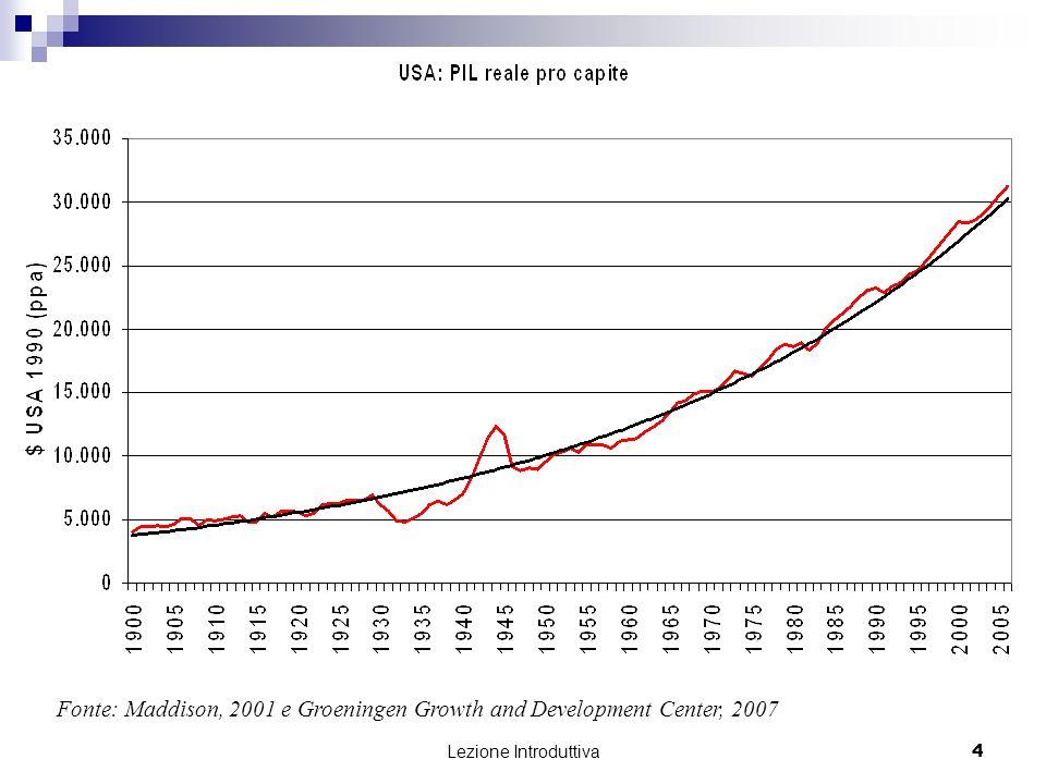Lezione Introduttiva 15 I paesi delleuro Le performance economiche del gruppo composto dai cinque maggiori paesi dellUnione Europea (Germania, Francia, Italia, Spagna e Regno Unito) è stata meno soddisfacente della performance degli Stati Uniti nello stesso periodo, prima della crisi: dal 1996 al 2006, la crescita media annua della produzione nellUnione Europea è stata solo del 2,0%, cioè inferiore dell1,4% rispetto al valore medio per gli Stati Uniti nello stesso periodo; la bassa crescita della produzione è stata accompagnata da una disoccupazione persistente ed elevata; lunica notizia positiva riguarda linflazione.