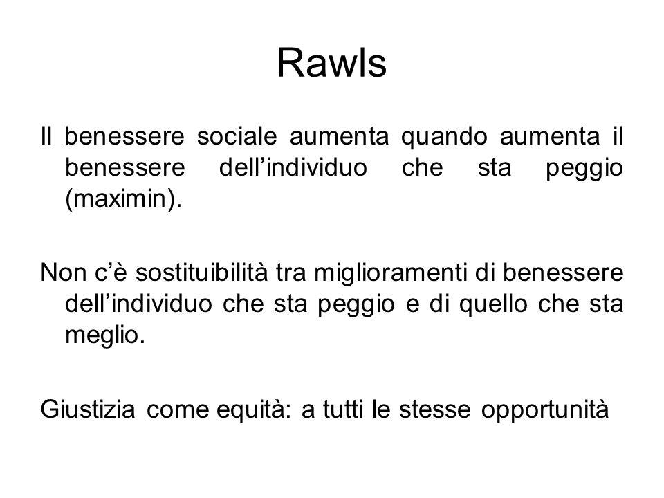 Rawls Il benessere sociale aumenta quando aumenta il benessere dellindividuo che sta peggio (maximin). Non cè sostituibilità tra miglioramenti di bene