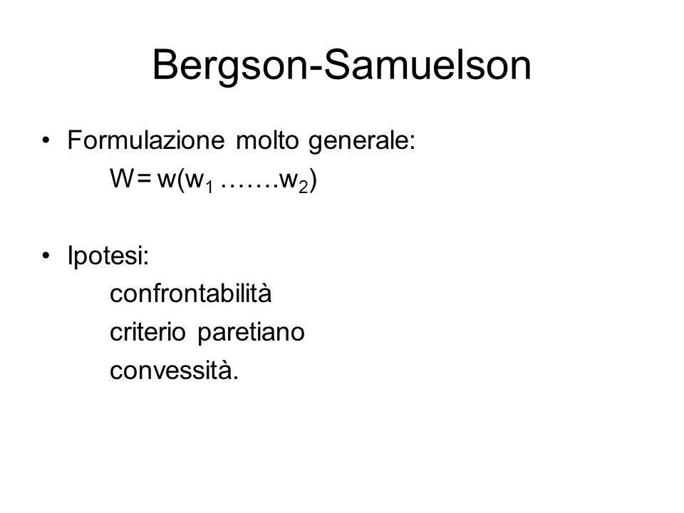 Bergson-Samuelson Formulazione molto generale: W= w(w 1 …….w 2 ) Ipotesi: confrontabilità criterio paretiano convessità.