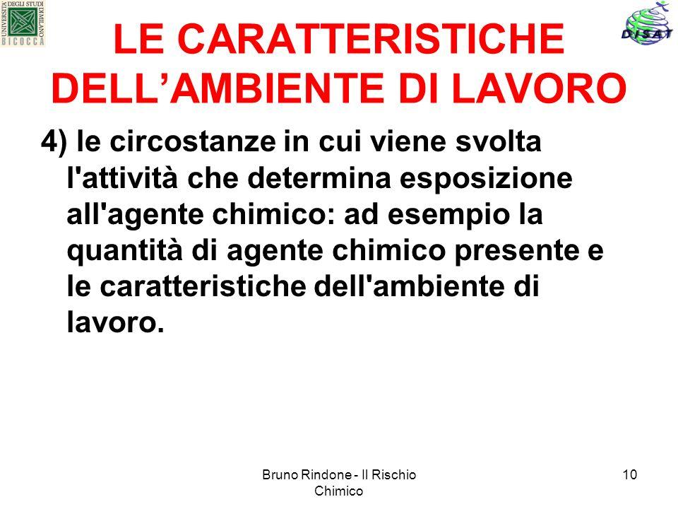Bruno Rindone - Il Rischio Chimico 10 LE CARATTERISTICHE DELLAMBIENTE DI LAVORO 4) le circostanze in cui viene svolta l'attività che determina esposiz