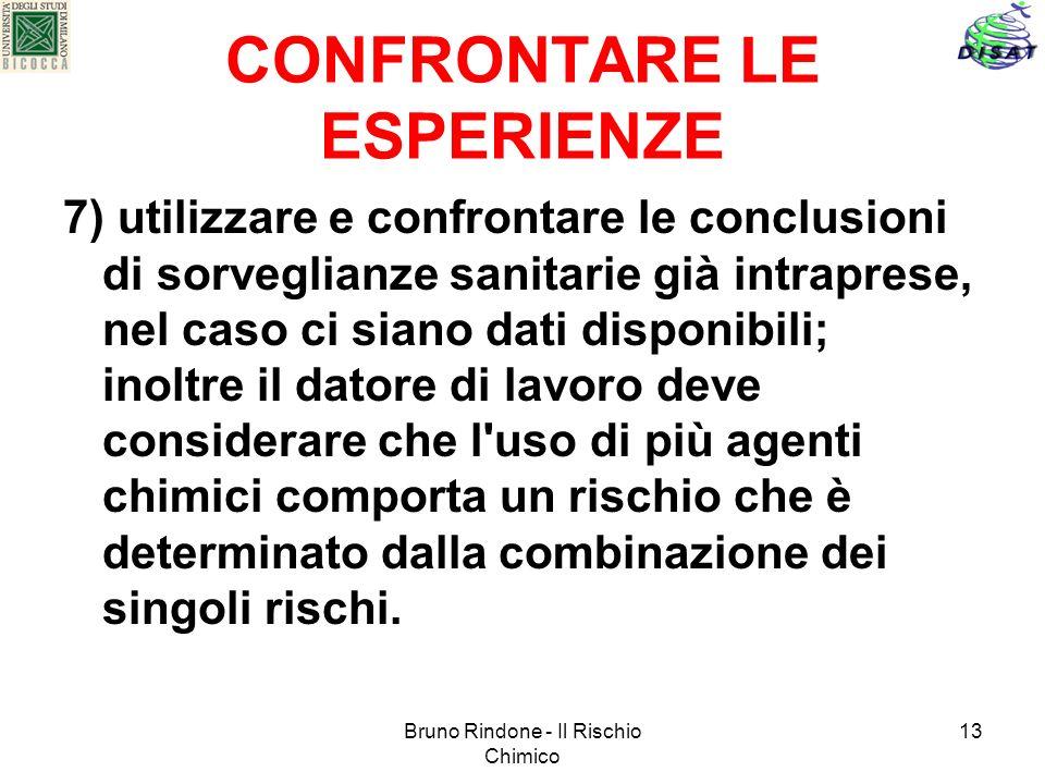 Bruno Rindone - Il Rischio Chimico 13 CONFRONTARE LE ESPERIENZE 7) utilizzare e confrontare le conclusioni di sorveglianze sanitarie già intraprese, n