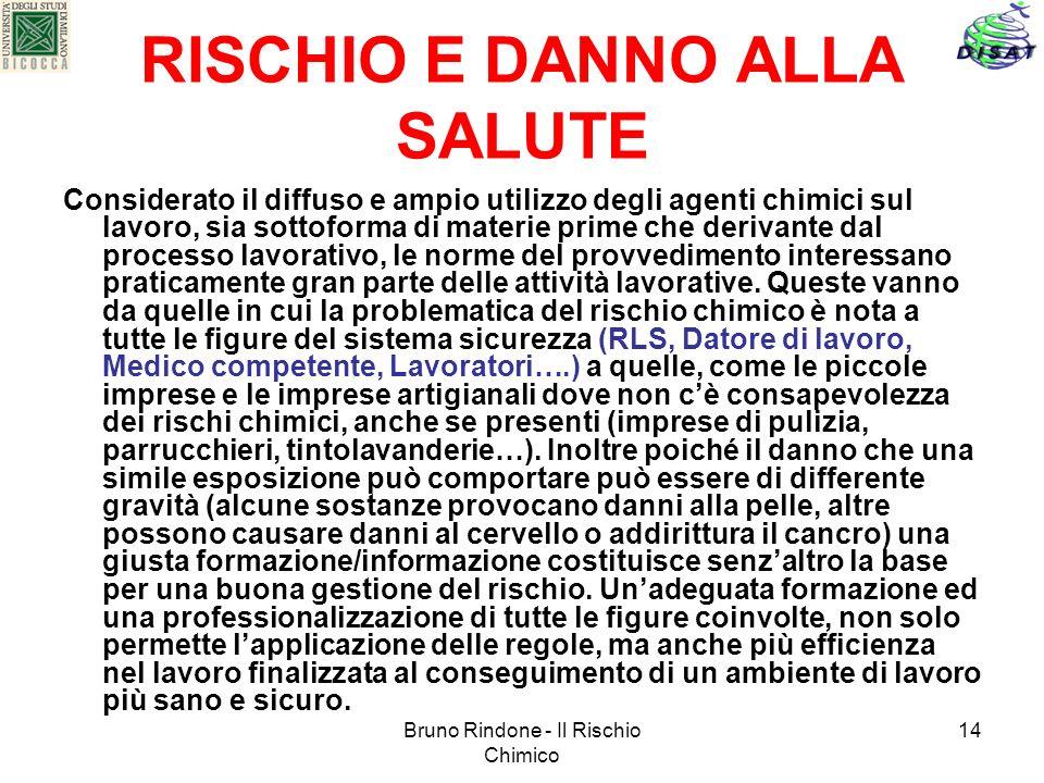Bruno Rindone - Il Rischio Chimico 14 RISCHIO E DANNO ALLA SALUTE Considerato il diffuso e ampio utilizzo degli agenti chimici sul lavoro, sia sottofo