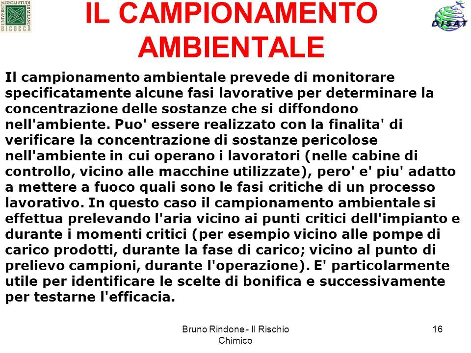 Bruno Rindone - Il Rischio Chimico 16 IL CAMPIONAMENTO AMBIENTALE Il campionamento ambientale prevede di monitorare specificatamente alcune fasi lavor