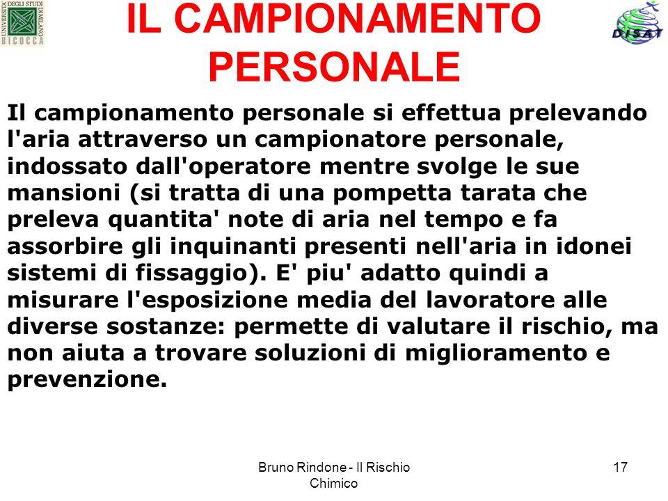 Bruno Rindone - Il Rischio Chimico 17 IL CAMPIONAMENTO PERSONALE Il campionamento personale si effettua prelevando l'aria attraverso un campionatore p