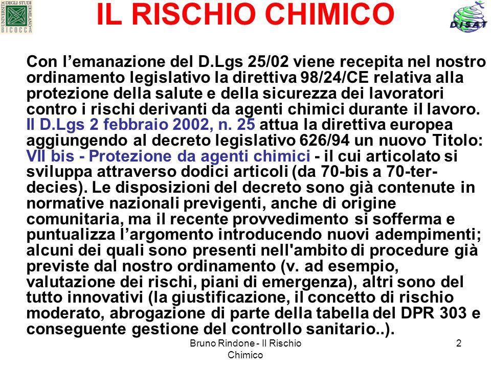 Bruno Rindone - Il Rischio Chimico 2 IL RISCHIO CHIMICO Con lemanazione del D.Lgs 25/02 viene recepita nel nostro ordinamento legislativo la direttiva