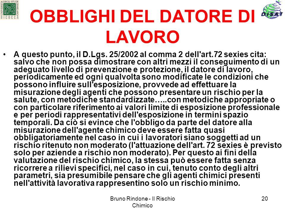 Bruno Rindone - Il Rischio Chimico 20 OBBLIGHI DEL DATORE DI LAVORO A questo punto, il D.Lgs. 25/2002 al comma 2 dell'art.72 sexies cita: salvo che no