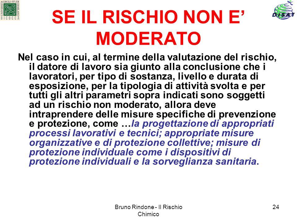 Bruno Rindone - Il Rischio Chimico 24 SE IL RISCHIO NON E MODERATO Nel caso in cui, al termine della valutazione del rischio, il datore di lavoro sia
