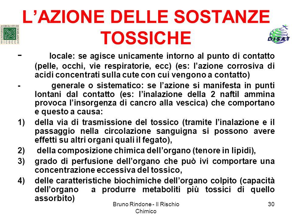 Bruno Rindone - Il Rischio Chimico 30 LAZIONE DELLE SOSTANZE TOSSICHE - locale: se agisce unicamente intorno al punto di contatto (pelle, occhi, vie r