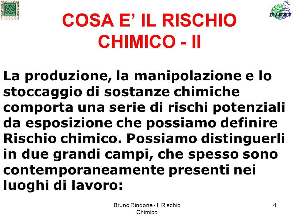 Bruno Rindone - Il Rischio Chimico 4 COSA E IL RISCHIO CHIMICO - II La produzione, la manipolazione e lo stoccaggio di sostanze chimiche comporta una