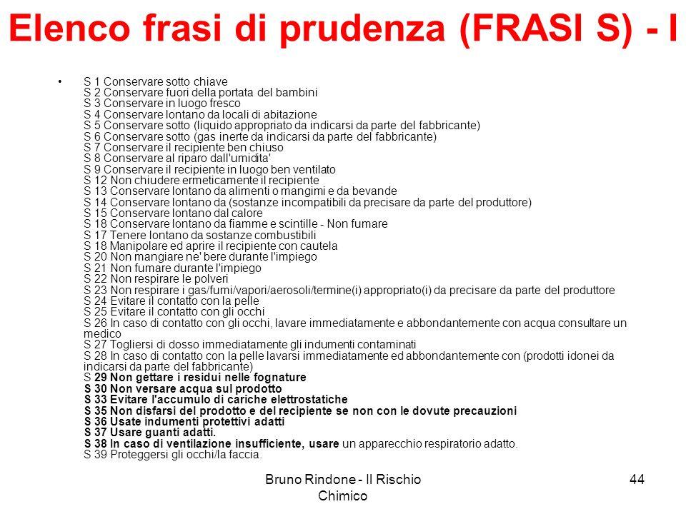 Bruno Rindone - Il Rischio Chimico 44 Elenco frasi di prudenza (FRASI S) - I S 1 Conservare sotto chiave S 2 Conservare fuori della portata del bambin