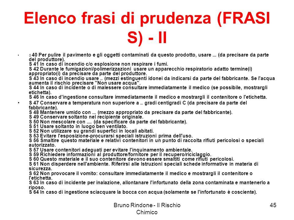 Bruno Rindone - Il Rischio Chimico 45 Elenco frasi di prudenza (FRASI S) - II S 40 Per pulire il pavimento e gli oggetti contaminati da questo prodott