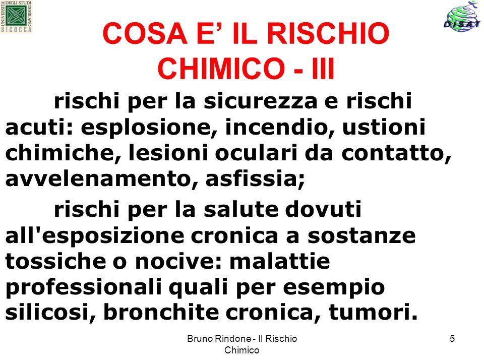Bruno Rindone - Il Rischio Chimico 5 COSA E IL RISCHIO CHIMICO - III rischi per la sicurezza e rischi acuti: esplosione, incendio, ustioni chimiche, l