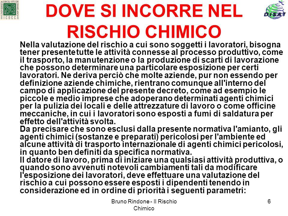Bruno Rindone - Il Rischio Chimico 6 DOVE SI INCORRE NEL RISCHIO CHIMICO Nella valutazione del rischio a cui sono soggetti i lavoratori, bisogna tener